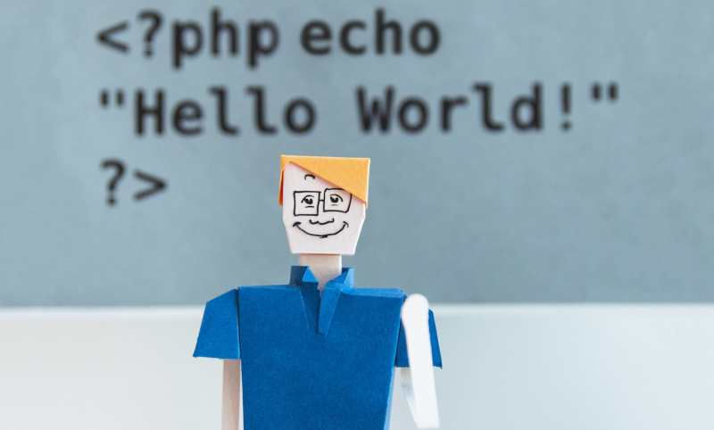Picture of a paper person infront of code